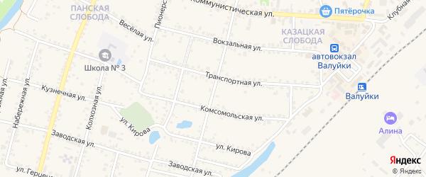 Интернациональная улица на карте Валуек с номерами домов