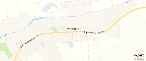 Карта села Успенки в Белгородской области с улицами и номерами домов