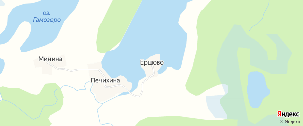 Карта деревни Ершово в Архангельской области с улицами и номерами домов