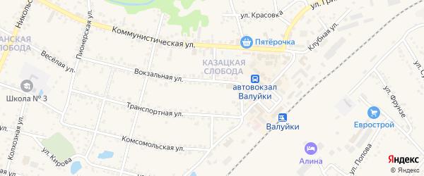 Садовая улица на карте Валуек с номерами домов