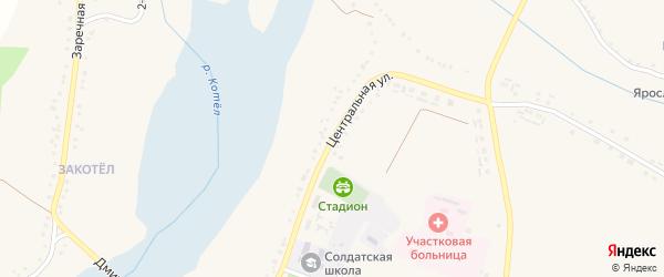 Центральная улица на карте Солдатского села с номерами домов
