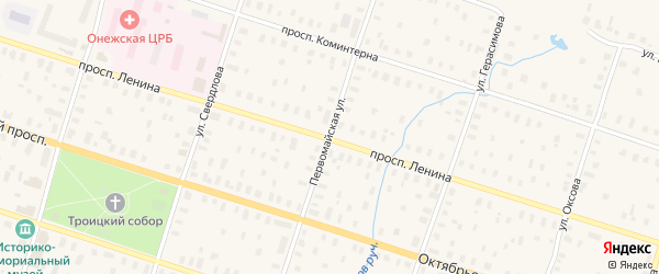 Первомайская улица на карте Онеги с номерами домов