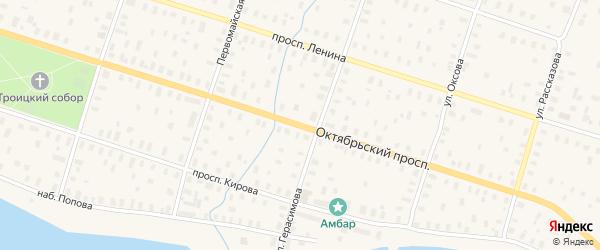 Октябрьский проспект на карте Онеги с номерами домов