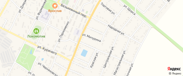 Улица Мичурина на карте Валуек с номерами домов