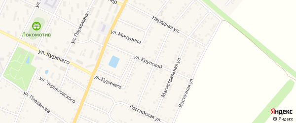 Улица Крупской на карте Валуек с номерами домов