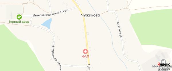 Центральная улица на карте села Чужиково с номерами домов