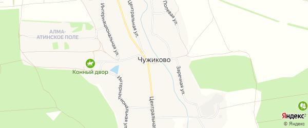 Карта села Чужиково в Белгородской области с улицами и номерами домов