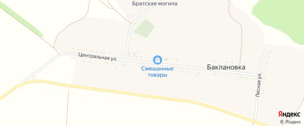 Центральная улица на карте села Баклановки с номерами домов