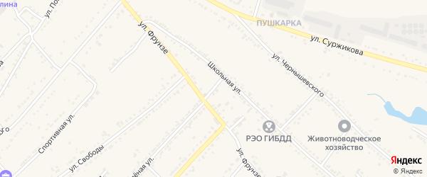 1-й Школьный переулок на карте Валуек с номерами домов