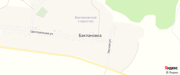 Лесная улица на карте села Баклановки с номерами домов