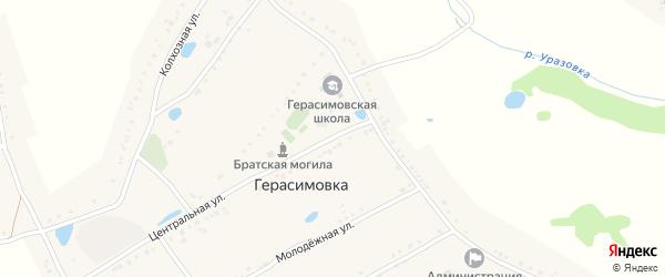 Центральная улица на карте села Герасимовки с номерами домов