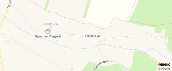 Зеленая улица на карте Солдатского села с номерами домов