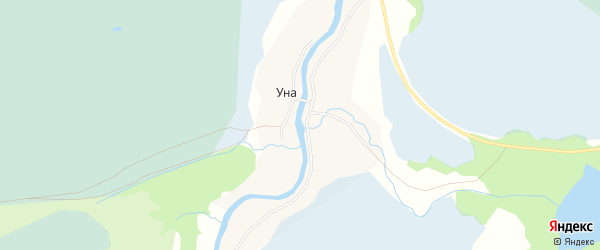 Карта деревни Уна в Архангельской области с улицами и номерами домов