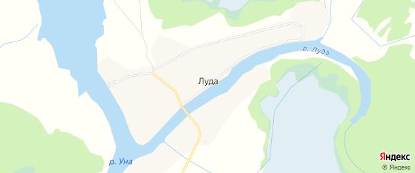 Карта деревни Луды в Архангельской области с улицами и номерами домов