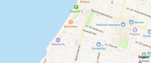Узкий переулок на карте Приморско-Ахтарска с номерами домов