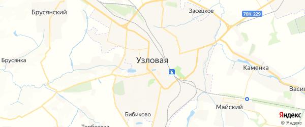 Карта Узловой с районами, улицами и номерами домов