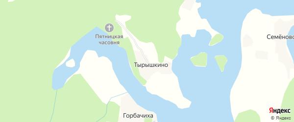 Карта деревни Тырышкино в Архангельской области с улицами и номерами домов