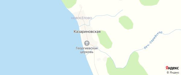 Карта Казариновская деревни в Архангельской области с улицами и номерами домов