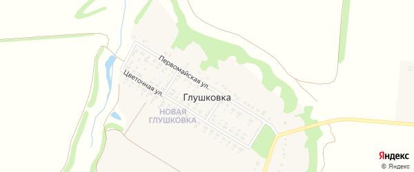 Первомайская улица на карте хутора Глушковки с номерами домов