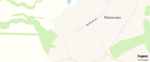 Зеленая улица на карте села Малиново с номерами домов