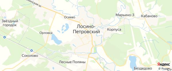 Карта Лосино-Петровского с районами, улицами и номерами домов