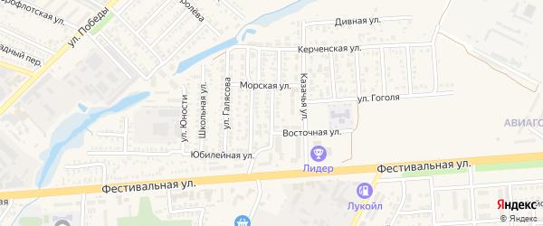 Добровольная улица на карте Приморско-Ахтарска с номерами домов