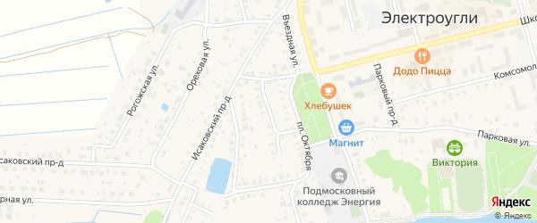Октябрьский переулок на карте Электроуглей с номерами домов