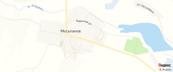 Карта хутора Мосьпанова в Белгородской области с улицами и номерами домов
