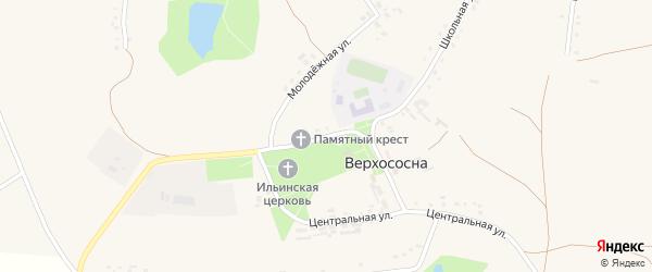 Центральная улица на карте села Верхососны с номерами домов
