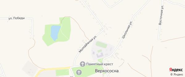 Молодежная улица на карте села Верхососны с номерами домов