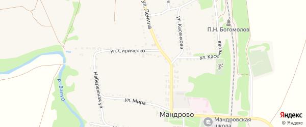 Зеленая улица на карте села Мандрово с номерами домов