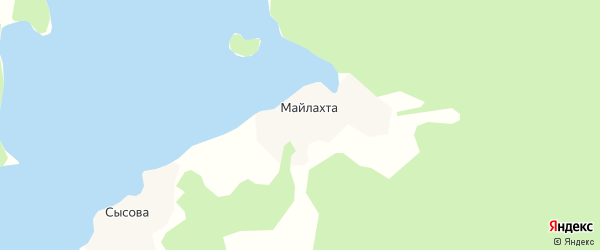 Карта деревни Майлахты в Архангельской области с улицами и номерами домов