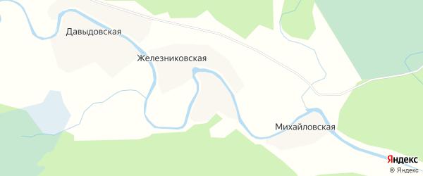 Карта Манойловской деревни в Архангельской области с улицами и номерами домов