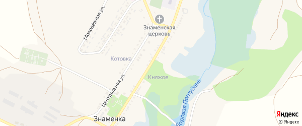 Нижняя улица на карте села Знаменки с номерами домов