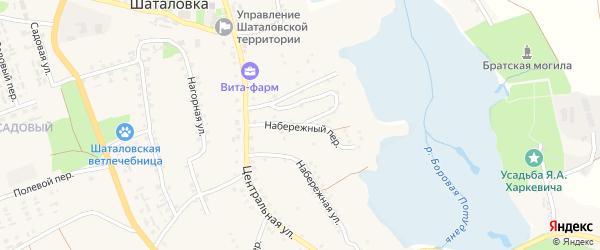 Набережный переулок на карте села Шаталовки с номерами домов