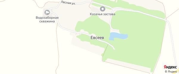 Лесная улица на карте хутора Евсеева с номерами домов