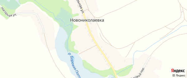 Центральная улица на карте села Новониколаевки с номерами домов