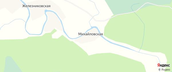 Карта Михайловской деревни в Архангельской области с улицами и номерами домов