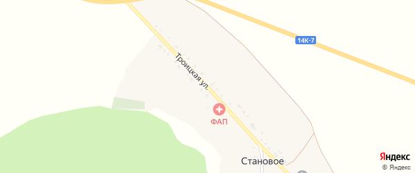 Троицкая улица на карте Станового села с номерами домов