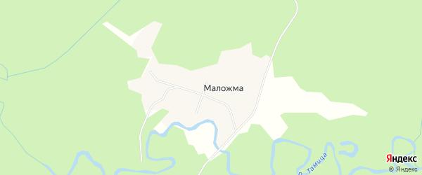 Карта поселка Маложмы в Архангельской области с улицами и номерами домов