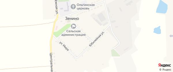 Юбилейная улица на карте села Зенино с номерами домов