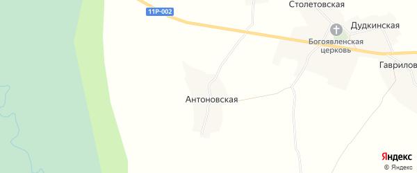 Карта Антоновской деревни в Архангельской области с улицами и номерами домов
