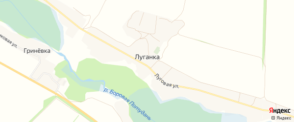 Карта села Луганки в Белгородской области с улицами и номерами домов
