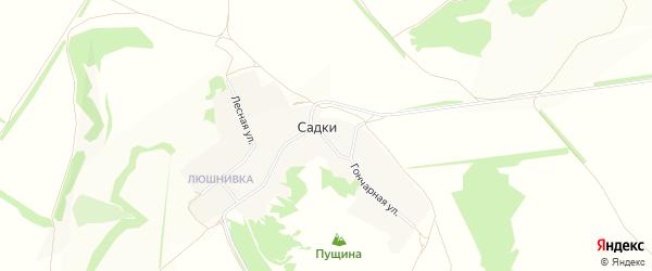 Карта села Садки в Белгородской области с улицами и номерами домов
