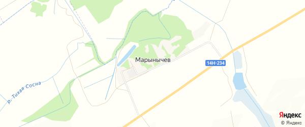 Карта поселка Марынычева в Белгородской области с улицами и номерами домов