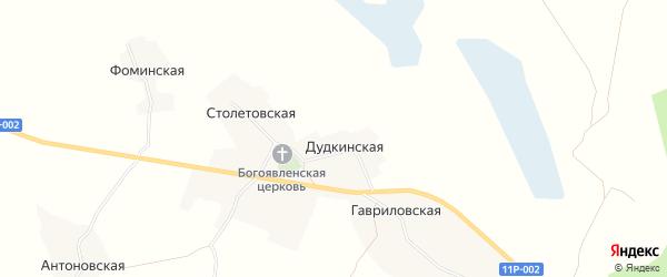 Карта Дудкинская деревни в Архангельской области с улицами и номерами домов