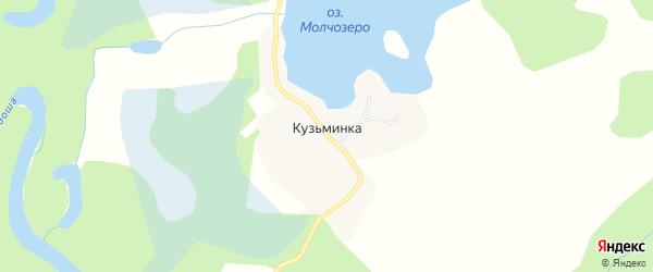 Карта деревни Кузьминки в Архангельской области с улицами и номерами домов