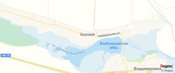 Карта села Боровой в Белгородской области с улицами и номерами домов