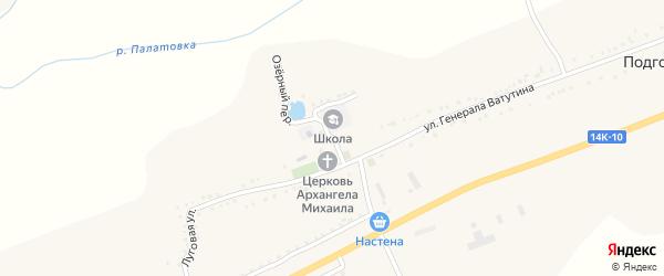 Школьный переулок на карте Подгорного села с номерами домов