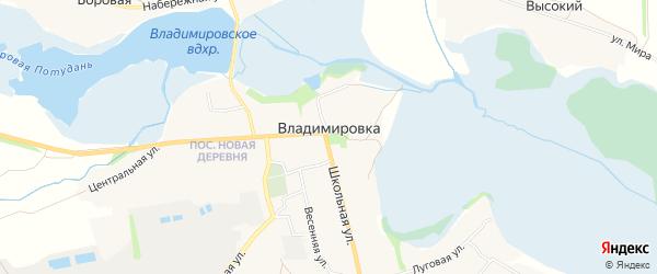 Карта села Владимировки в Белгородской области с улицами и номерами домов